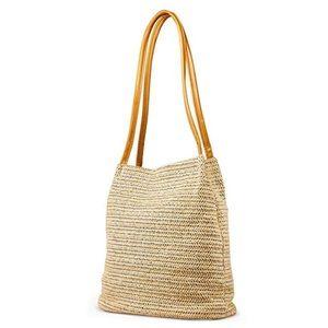 Straw shoulder tote bag